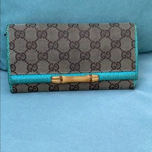 Gucci Vintage Canvas Wallet with Bamboo Bar